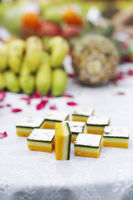Close-up of indian sweets on a table