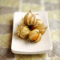 Close up of physalis on a small plate