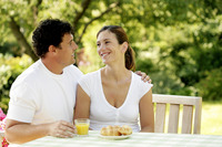 Popular : Couple having breakfast together