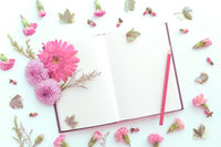 Flowers with open blank book design