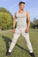 Popular : Full length of determined jogger standing in park
