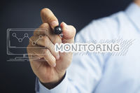 Hand illustrating monitoring concept
