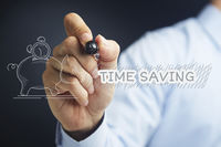 Hand illustrating time saving concept