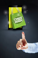 Hand pointing at cyber monday sale concept