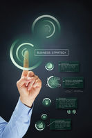 Hand presenting business strategy concept