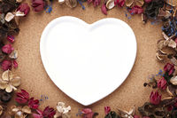 Heart shaped plate with dried flowers