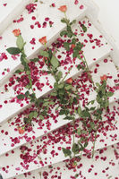 High angle view of rose petals on a staircase
