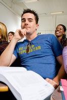 Male student in lecture hall  portrait