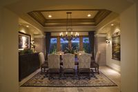 Palm springs dining area and patterned rug
