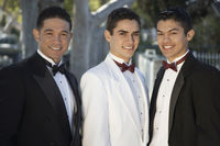 Popular : Portrait of three boys  13-15  wearing tuxedos at quinceanera