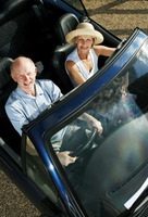 Popular : Senior couple traveling in the car