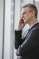 Side view of businessman using cell phone in office