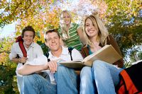Students studying outdoors  portrait