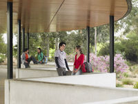 Students talking in outdoor pavilion