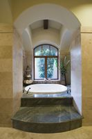 Sunken marble bath in palm springs home
