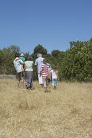 Three-generation family with three children  3-11  walking in field back view