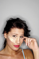 Popular : Woman with a plaster on her face crying