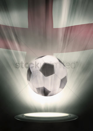 Nationality : A soccer ball with england flag backdrop