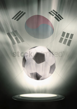 Hexagon : A soccer ball with korea republic flag backdrop