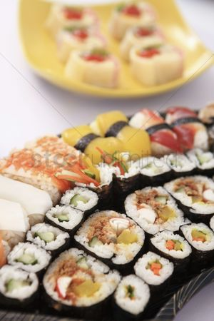 Ready to eat : A tray of sushi
