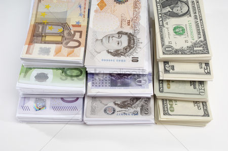 Business Finance : American british and euro paper currency
