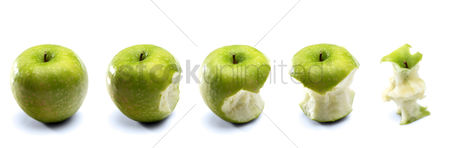 Fruit : Apples on white background  - close-up