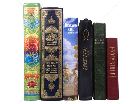 Religion : Assorted religious books in a row