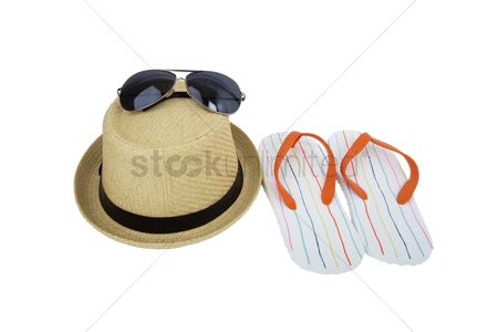 Accessories : Beach hat with sunglasses and slippers