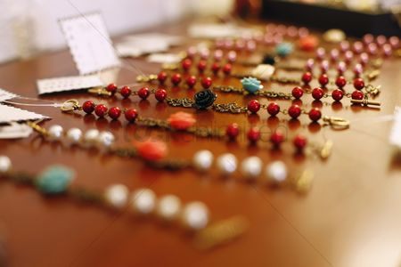 Selection : Beaded jewelry for sale in a retail store