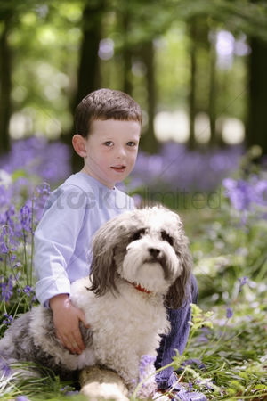 Spring : Boy and his pet dog