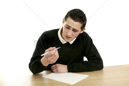 Examination : Boy having problem with his pen