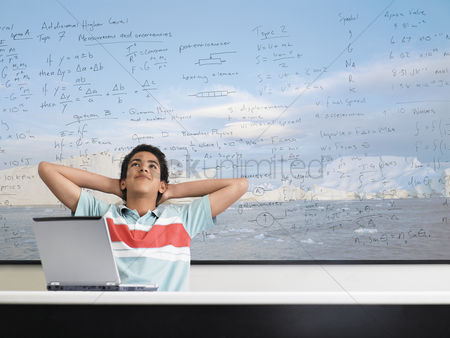 Contemplation : Boy in math class