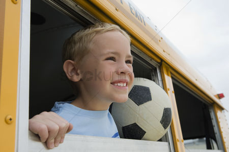 Young boy : Boy on school bus