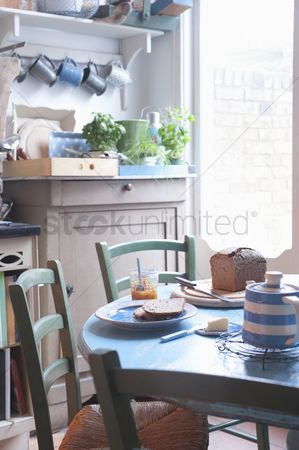 Interior : Bread and butter or breakfast table in rural kitchen