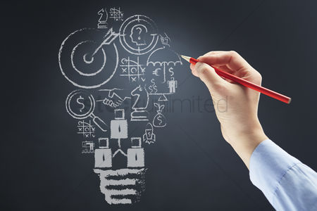 Conceptual : Business ideas drawn on board concept