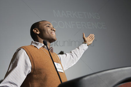 Motivation business : Business man presenting conference meeting