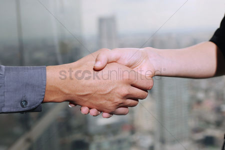 20 24 years : Business people shaking hands