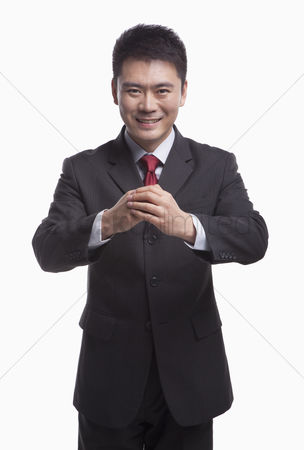 Proud : Businessman bowing toward camera