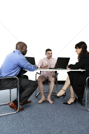 Funny : Businessman in boxer shorts having discussion with his business partners