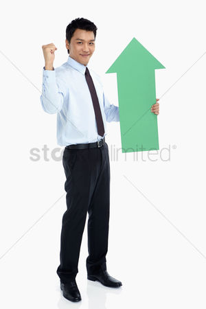 Masculinity : Businessman with an arrow  cheering
