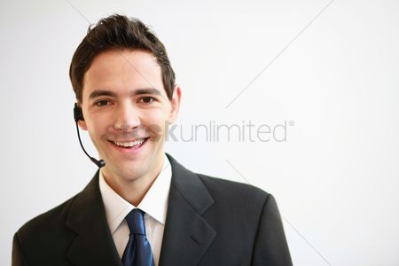 Head shot : Businessman with telephone headset