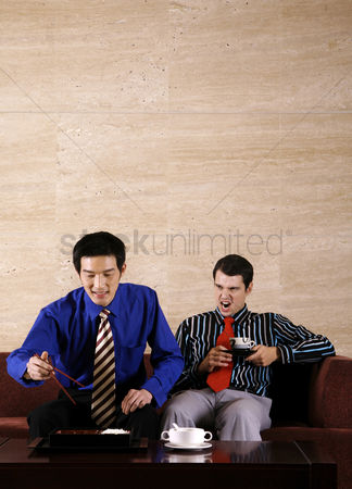 Mad : Businessmen enjoying a japanese style lunch