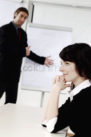Ignorance : Businesswoman daydreaming in the conference room