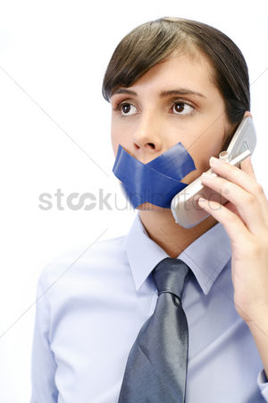 Sales person : Businesswoman with her lips sealed up trying to make a phone call