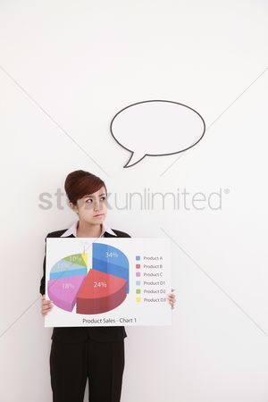 Cardboard cutout : Businesswoman with speech bubble holding a pie chart