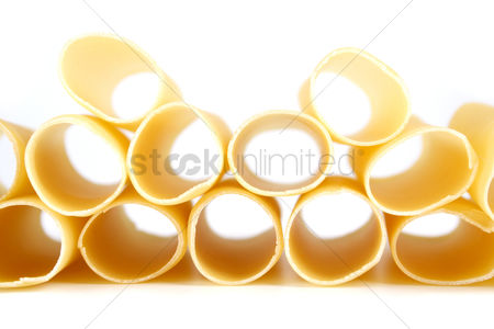 Collection : Cannelloni raw pasta on white background