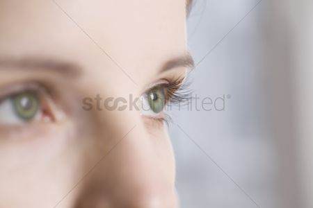 Vision : Caucasian woman s green eyes