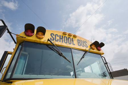 Careful : Caution lights and windshield of school bus