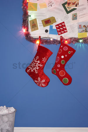 Interior background : Christmas stocking decorations hanging on wall