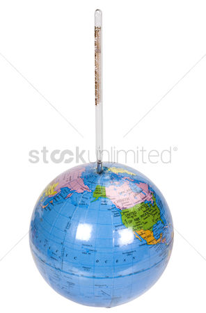 Thermometer : Close-up of a globe with a thermometer
